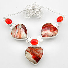 45.52cts natural mexican laguna lace agate cornelian 925 silver necklace r52327