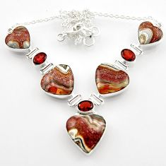 63.65cts natural mexican laguna lace agate heart 925 silver necklace r52305