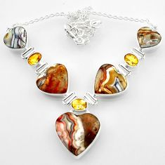 63.40cts natural mexican laguna lace agate heart 925 silver necklace r52311
