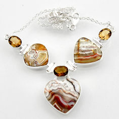 48.05cts natural mexican laguna lace agate heart 925 silver necklace r52328