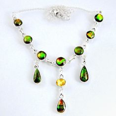 31.72cts natural multi color ammolite (canadian) 925 silver necklace r56021