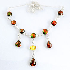 33.57cts natural multi color ammolite (canadian) 925 silver necklace r56025