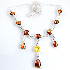 28.47cts natural multi color ammolite (canadian) 925 silver necklace r56026