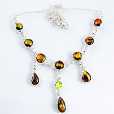 30.84cts natural multi color ammolite (canadian) 925 silver necklace r56027