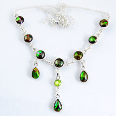 30.56cts natural multi color ammolite (canadian) 925 silver necklace r56031
