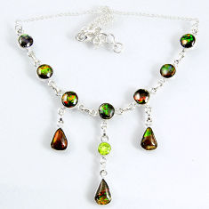 30.84cts natural multi color ammolite (canadian) 925 silver necklace r56036