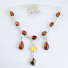 31.35cts natural multi color ammolite (canadian) 925 silver necklace r56039