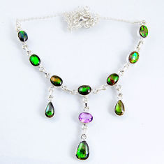 29.96cts natural multi color ammolite (canadian) 925 silver necklace r56040