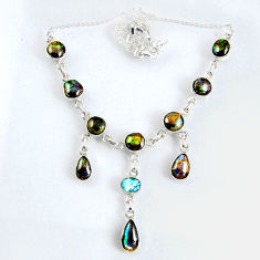 31.86cts natural multi color ammolite (canadian) topaz silver necklace r56022