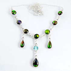 29.52cts natural multi color ammolite (canadian) topaz silver necklace r56024