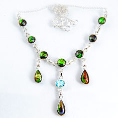 29.96cts natural multi color ammolite (canadian) topaz silver necklace r56029