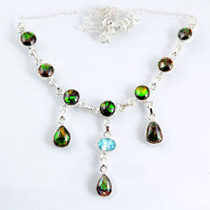 30.56cts natural multi color ammolite (canadian) topaz silver necklace r56034