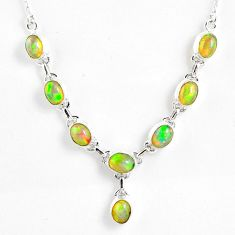 15.94cts natural multi color ethiopian opal 925 sterling silver necklace r59462
