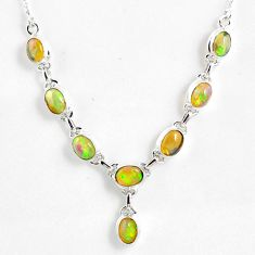 15.38cts natural multi color ethiopian opal 925 sterling silver necklace r59463