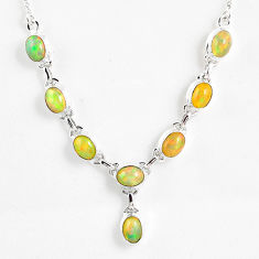 15.95cts natural multi color ethiopian opal 925 sterling silver necklace r59465