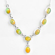 15.64cts natural multi color ethiopian opal 925 sterling silver necklace r59466