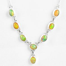 15.91cts natural multi color ethiopian opal 925 sterling silver necklace r59468