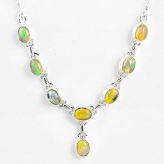 15.64cts natural multi color ethiopian opal 925 sterling silver necklace r59469