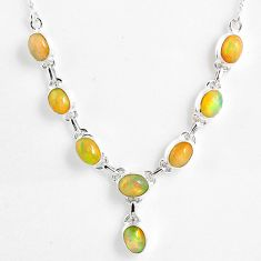 15.61cts natural multi color ethiopian opal 925 sterling silver necklace r59473