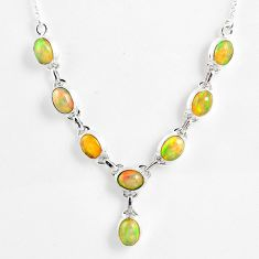 15.64cts natural multi color ethiopian opal 925 sterling silver necklace r59474