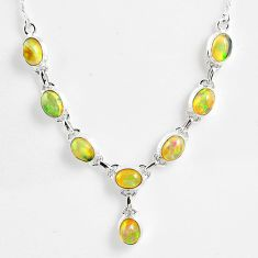15.87cts natural multi color ethiopian opal 925 sterling silver necklace r59476