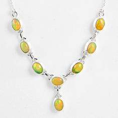 15.46cts natural multi color ethiopian opal 925 sterling silver necklace r59478