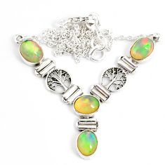 11.57cts natural multi color ethiopian opal 925 sterling silver necklace r76841