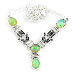 12.04cts natural multi color ethiopian opal 925 sterling silver necklace r76842