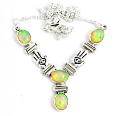 12.87cts natural multi color ethiopian opal 925 sterling silver necklace r76843