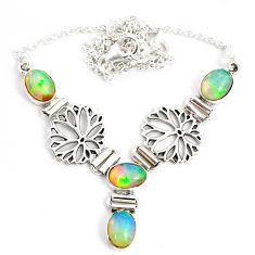 12.59cts natural multi color ethiopian opal 925 sterling silver necklace r76845
