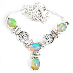 12.12cts natural multi color ethiopian opal 925 sterling silver necklace r76846