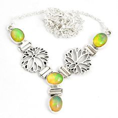 12.76cts natural multi color ethiopian opal 925 sterling silver necklace r76848