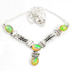12.21cts natural multi color ethiopian opal 925 sterling silver necklace r76849