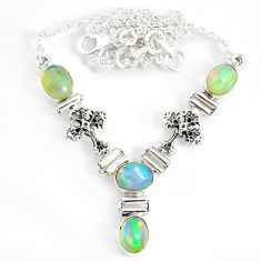 12.60cts natural multi color ethiopian opal 925 sterling silver necklace r76850