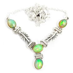 12.20cts natural multi color ethiopian opal 925 sterling silver necklace r76852