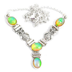 12.15cts natural multi color ethiopian opal 925 sterling silver necklace r76853