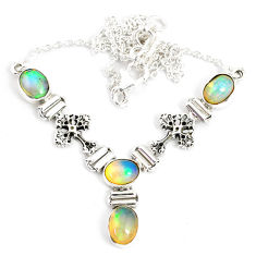 12.15cts natural multi color ethiopian opal 925 sterling silver necklace r76854