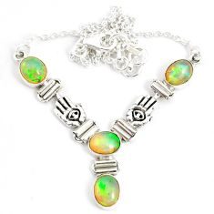 12.38cts natural multi color ethiopian opal 925 sterling silver necklace r76856