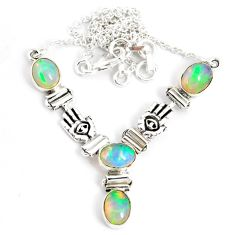 12.38cts natural multi color ethiopian opal 925 sterling silver necklace r76857