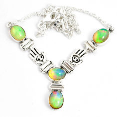 12.15cts natural multi color ethiopian opal 925 sterling silver necklace r76858