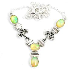 12.35cts natural multi color ethiopian opal 925 sterling silver necklace r76859