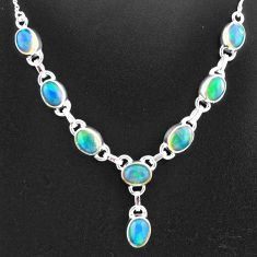 15.76cts natural multi color ethiopian opal 925 sterling silver necklace t2922