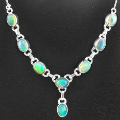 15.76cts natural multi color ethiopian opal 925 sterling silver necklace t2925