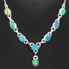 16.27cts natural multi color ethiopian opal 925 sterling silver necklace t2926