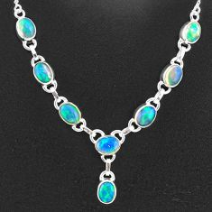 16.06cts natural multi color ethiopian opal 925 sterling silver necklace t2927