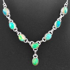 16.09cts natural multi color ethiopian opal 925 sterling silver necklace t2930