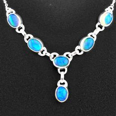 13.27cts natural multi color ethiopian opal 925 sterling silver necklace t2931