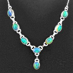 16.07cts natural multi color ethiopian opal 925 sterling silver necklace t2932