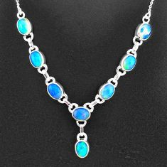 16.60cts natural multi color ethiopian opal 925 sterling silver necklace t2933