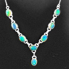 15.76cts natural multi color ethiopian opal 925 sterling silver necklace t2935